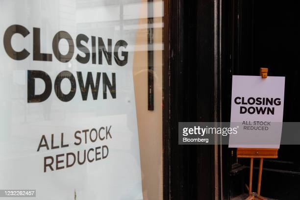 Closing down sale signs at the entrance to Jack Wills Retail Limited clothing store in Birmingham, U.K., on Monday, April 12, 2021. Non-essential...