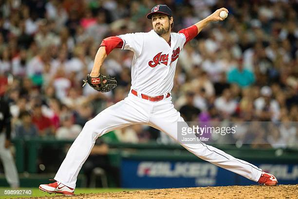 Closing pitcher Andrew Miller of the Cleveland Indians pitches during the ninth inning against the Miami Marlins during an interleague game at...