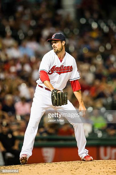 Closing pitcher Andrew Miller of the Cleveland Indians pitches during the eighth inning against the Minnesota Twins at Progressive Field on August 30...