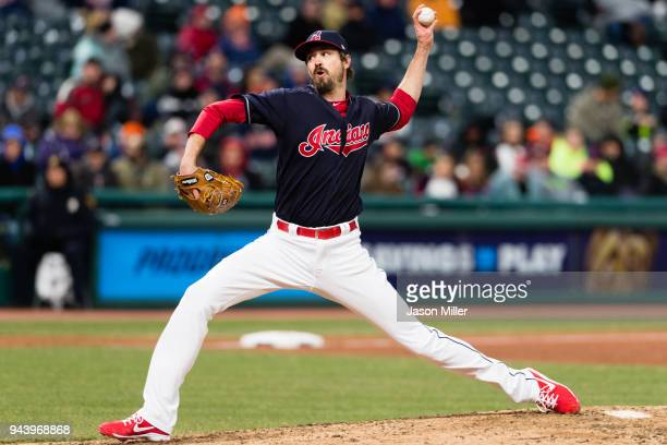 Closing pitcher Andrew Miller of the Cleveland Indians pitches during the ninth inning against the Detroit Tigers at Progressive Field on April 9...