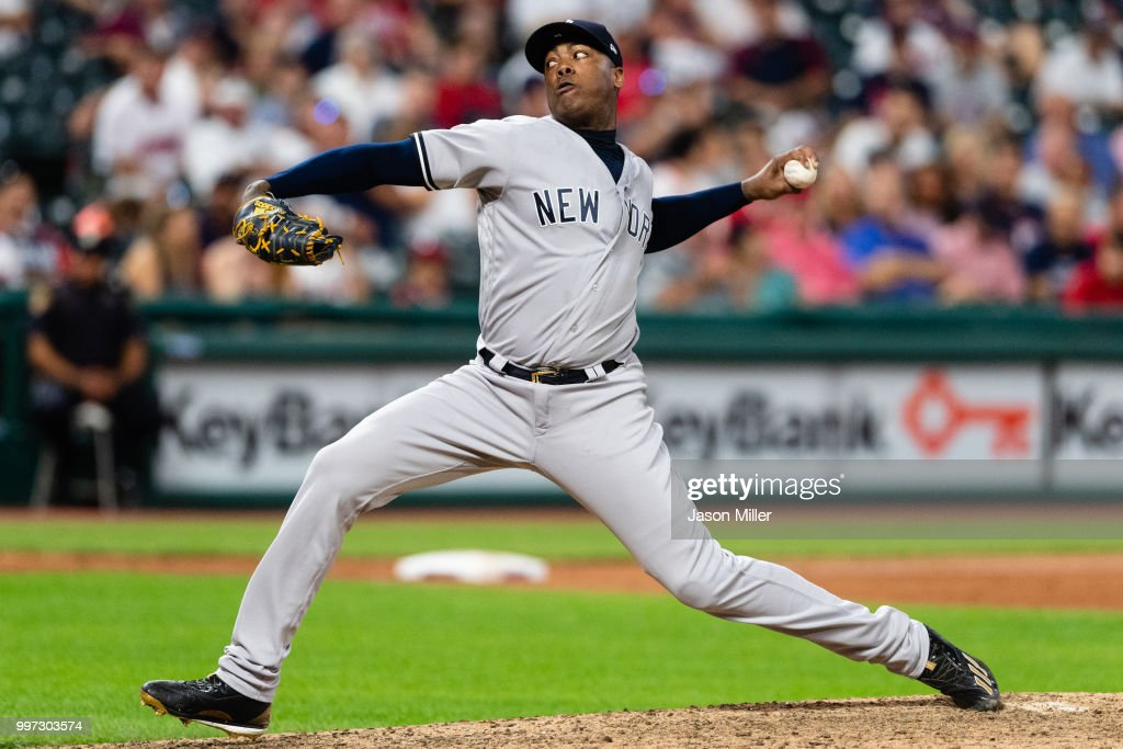 Closing pitcher Aroldis Chapman #54 of the New York Yankees pitches during the ninth inning against the Cleveland Indians at Progressive Field on July 12, 2018 in Cleveland, Ohio. The Yankees defeated the Indians 7-4.