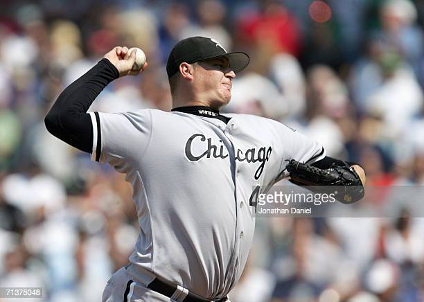 Closing pitcher Bobby Jenks of the Chicago White Sox pitches against the Chicago Cubs in the bottom of the ninth inning to secure a save on July 1...