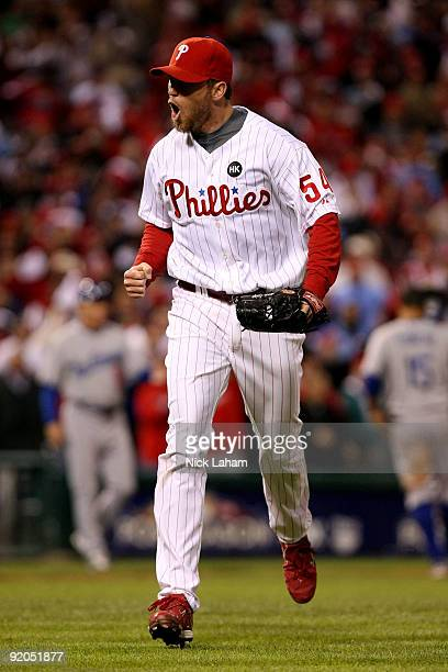 Closing pitcher Brad Lidge of the Philadelphia Phillies reacts after he struck out Andre Ethier of the Los Angeles Dodgers for the final out in the...