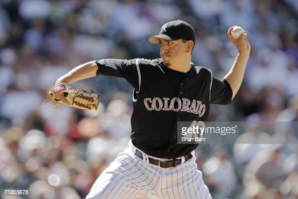 Closing pitcher Brian Fuentes of the Colorado Rockies throws against the Toronto Blue Jays in the ninth inning on May 21, 2006 at Coors Field in...
