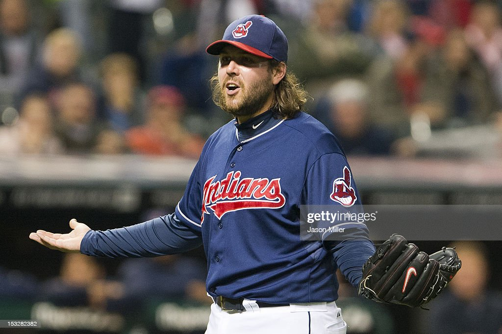 Closing pitcher Chris Perez #54 of the Cleveland Indians reacts to hitting Tyler Flowers #17 of the Chicago White Sox with a pitch during the ninth inning at Progressive Field on October 2, 2012 in Cleveland, Ohio.