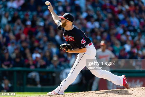 Closing pitcher Cody Allen delivers during the game against the Baltimore Orioles at Progressive Field on September 9 2017 in Cleveland Ohio The...