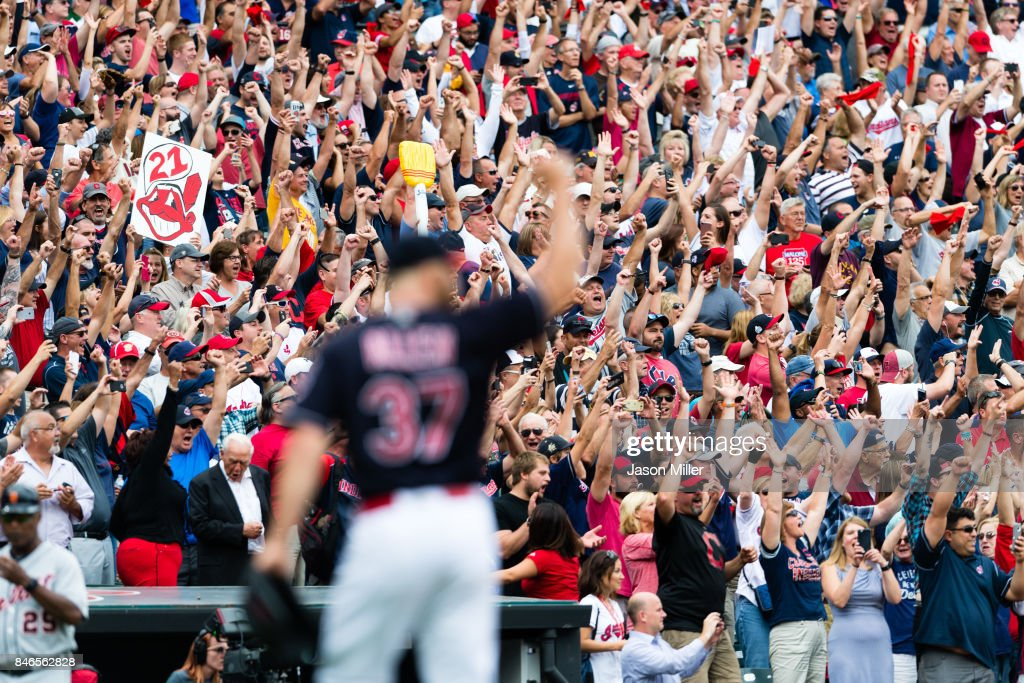 Closing pitcher Cody Allen #37 of the Cleveland Indians celebrates after the last out to defeat the Detroit Tigers at Progressive Field on September 13, 2017 in Cleveland, Ohio. The Indians defeated the Tigers for their 21st straight win, setting the American League record for consecutive wins a day after tying it.