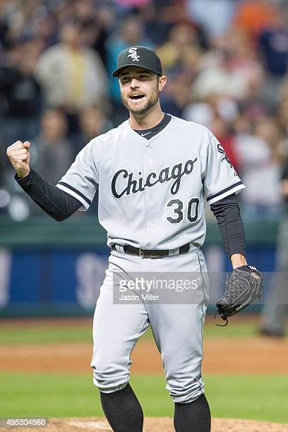 Closing pitcher David Robertson of the Chicago White Sox reacts after picking off Abraham Almonte of the Cleveland Indians at first to end the game...