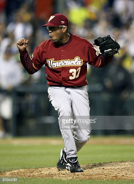 Closing pitcher Francisco Rodriguez of Venezuela celebrates a strikeout to end the game against Australia in a first round pool D World Baseball...