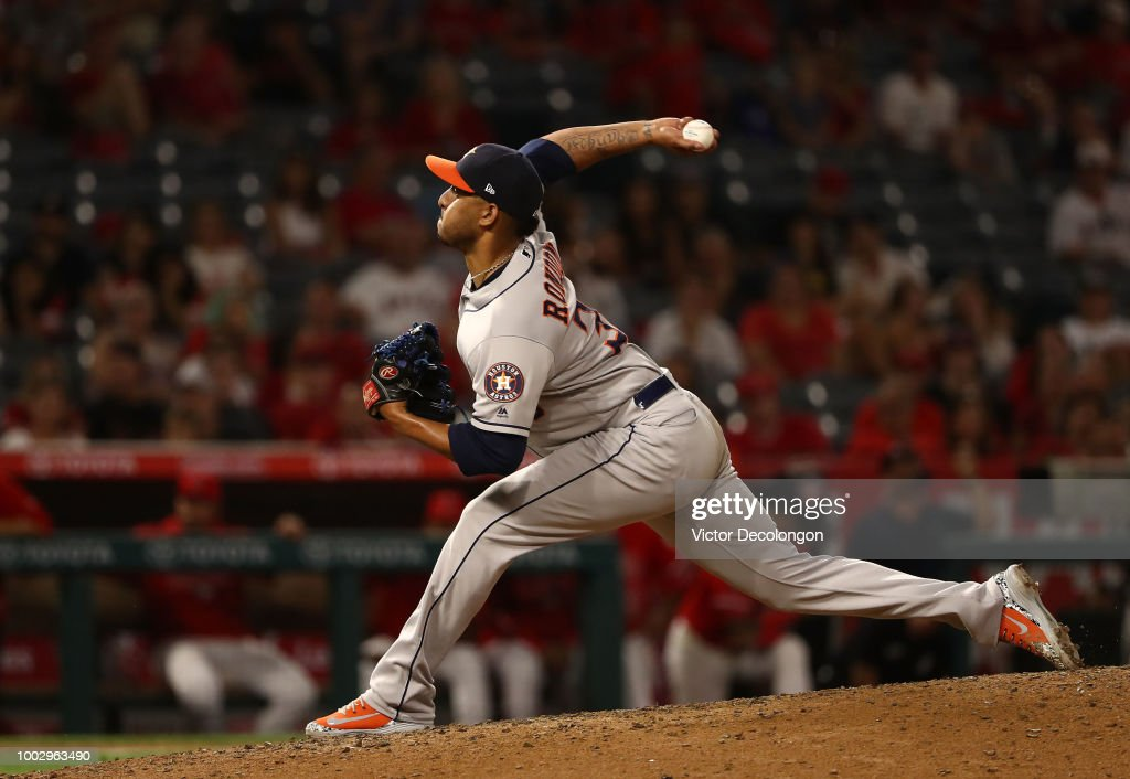 Closing pitcher Hector Rondon #30 of the Houston Astros pitches in the ninth inning of their MLB game against the Los Angeles Angels of Anaheim at Angel Stadium on July 20, 2018 in Anaheim, California. The Astros defeated the Angels 3-1.