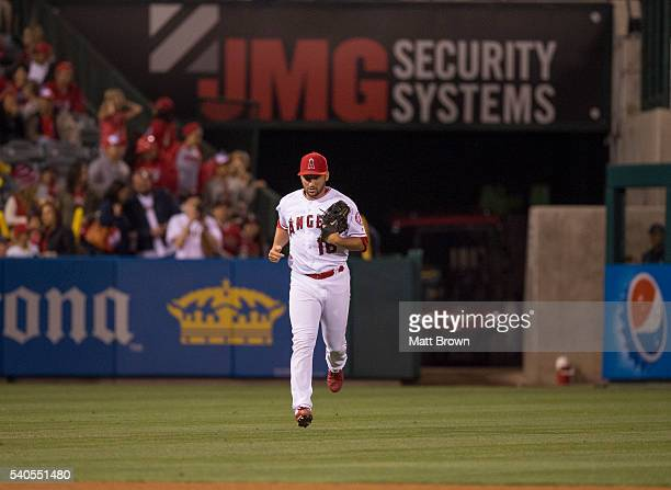 Closing pitcher Huston Street of the Los Angeles Angels of Anaheim takes the field for the ninth inning of the game against the Cleveland Indians at...
