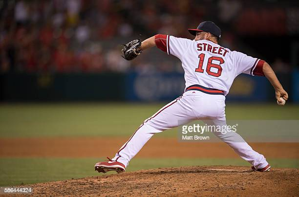 Closing pitcher Huston Street of the Los Angeles Angels of Anaheim pitches during the ninth inning of the game against the Texas Rangers at Angel...