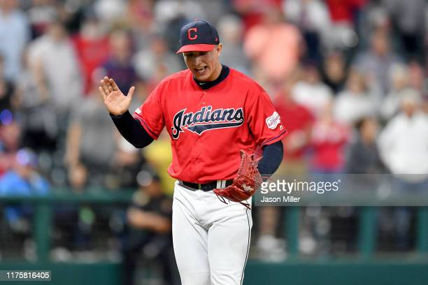Closing pitcher James Karinchak of the Cleveland Indians celebrates after the Indians defeated the Detroit Tigers at Progressive Field on September...