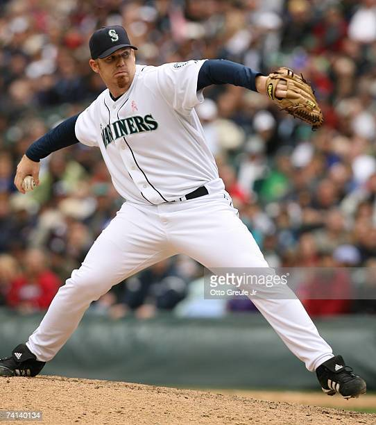 Closing pitcher JJ Putz of the Seattle Mariners pitches against the New York Yankees on May 13 2007 at Safeco Field in Seattle Washington The...