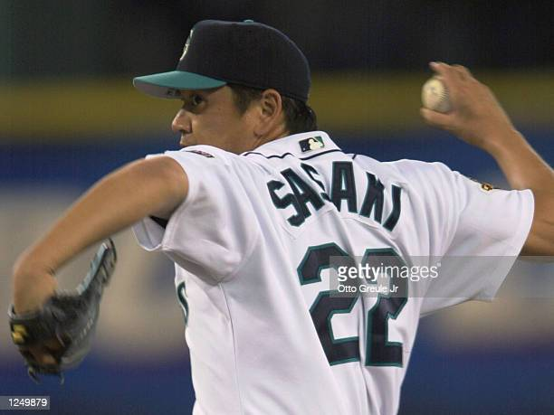 Closing pitcher Kazuhiro Sasaki of the Seattle Mariners delivers a pitch against the San Diego Padres on June 10, 2001 at Safeco Field in Seattle...