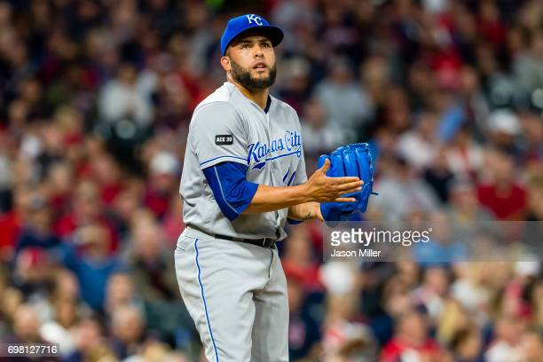 Closing pitcher Kelvin Herrera of the Kansas City Royals pitches during the ninth inning against the Cleveland Indians at Progressive Field on May 26...