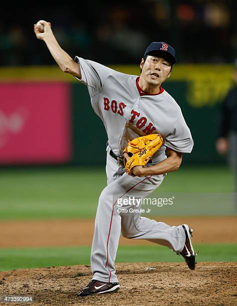 Closing pitcher Koji Uehara of the Boston Red Sox pitches against the Seattle Mariners in the ninth inning at Safeco Field on May 14, 2015 in...