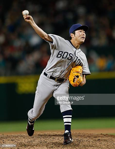 Closing pitcher Koji Uehara of the Boston Red Sox pitches against the Seattle Mariners in the ninth inning at Safeco Field on May 16 2015 in Seattle...