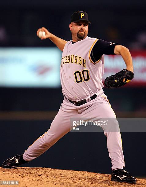 Closing pitcher Rick White of the Pittsburgh Pirates delivers a pitch in the ninth inning against St Louis Cardinals on June 23 2005 at Busch Stadium...
