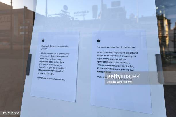 Clossed Apple store in the Hirsch building in Amsterdam during a weekday morning following the advice of the Dutch government to stay at home for...