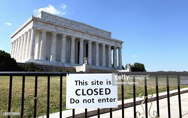 A closure sign is seen at the enterance of the Lincoln Memorial on the second day of the federal government shutdown on October 2 2013 in Washingon...