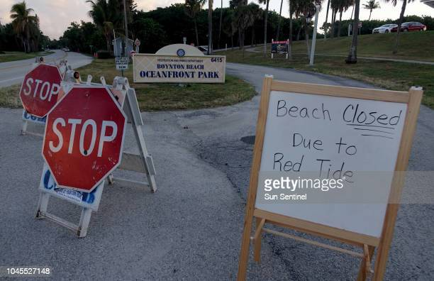 Closure signs are seen at the entrance to Oceanfront Park in Boynton Beach Fla Thursday Oct 4 2018 Officials have confirmed that red tide has...