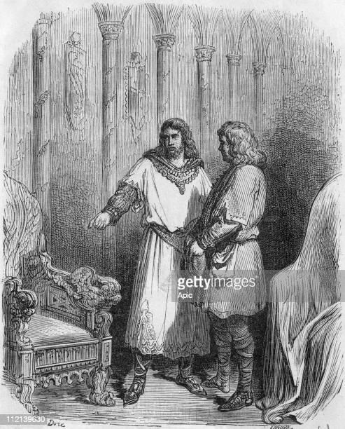 Clotaire II king of Neustria of the merovingian dynasty with Saint Eloi engraving