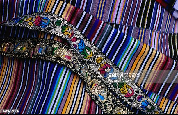 cloth and braid for sale at the market at mani rimdu festival at chiwang gompa (monastery). - mani rimdu festival stock pictures, royalty-free photos & images