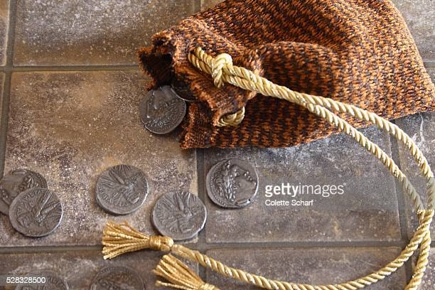 cloth bag and silver coins - judas iscariot stock pictures, royalty-free photos & images