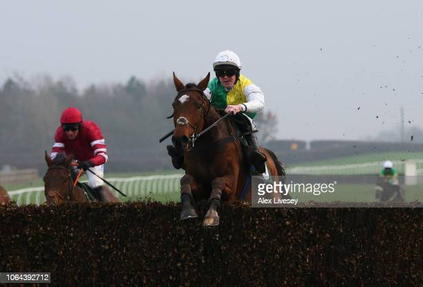 Cloth Cap ridden by Richie McLernon clears the last fence on their way to winning The Injured Jockeys Fund Handicap Steeple Chase at Catterick...