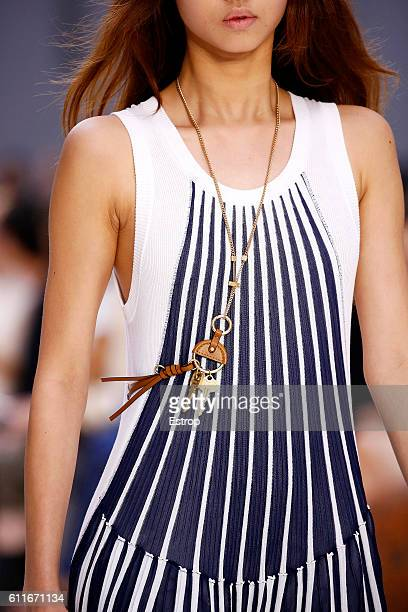Cloth detail at the Chloe show as part of the Paris Fashion Week Womenswear Spring/Summer 2017 on September 28 2016 in Paris France