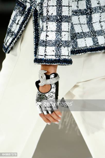 Cloth detail at the runway during the Chanel show as part of the Paris Fashion Week Womenswear Fall/Winter 2017/2018 on March 7 2017 in Paris France