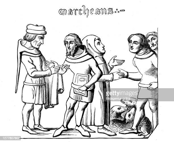 Cloth fair and wool market in the 14th century, France, market people buying by handshake.
