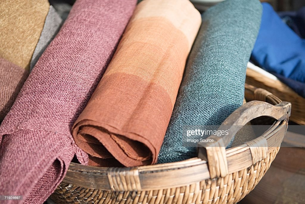Cloth in a basket : Stock Photo
