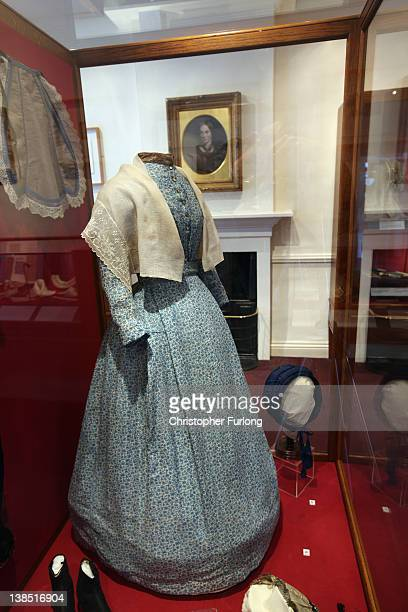 Clothes and accessories worn by Charlotte Bronte on display in her old bedroom at the Bronte Parsonage Museum on February 8 2012 in Haworth England...