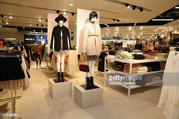 Clothes are displayed during the opening of the 'FOREVER 21' flagship store on Pitt Street on June 10, 2015 in Sydney, Australia.