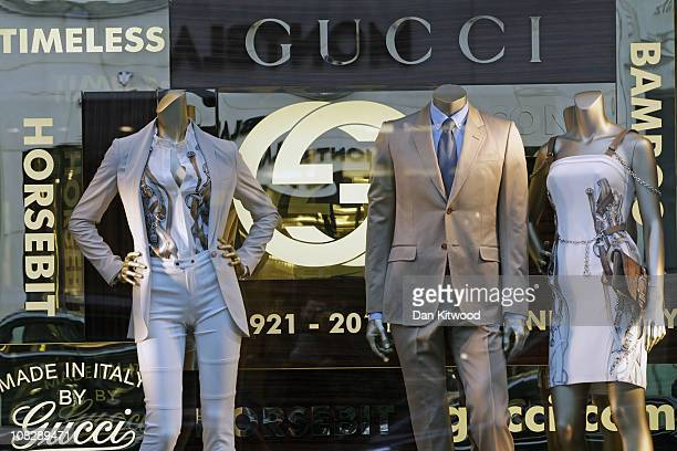 Clothes are displayed in the Gucci store window on Bond Street on January 24 2011 in London England Despite the expected retail slump sales of luxury...