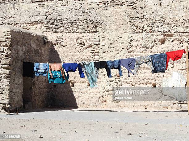 Clothes are drying in the street of Essaouira
