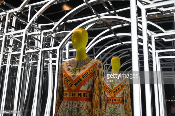 Clothes are on display at a Gucci flagship store on October 19, 2021 in Beijing, China.