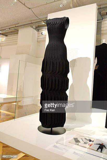 Clothes designed by Azzedine Alaia 2014 are exhibited during the 'Fashion Mix' Private Preview for bloggers at Cite de L'Immigration on December 9...