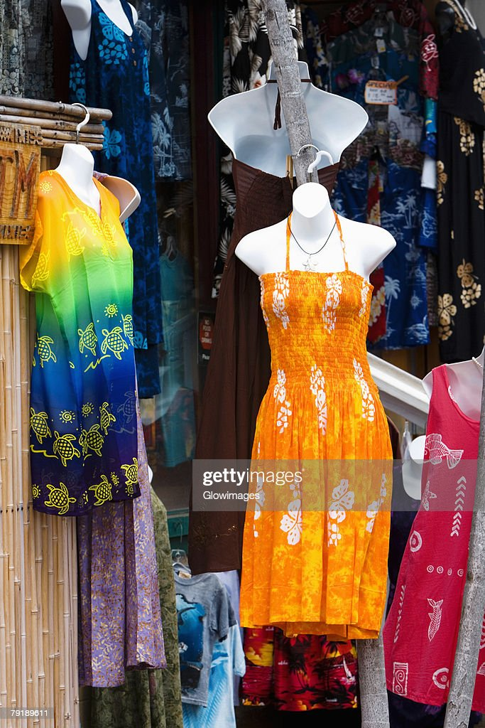 Clothes displayed at a market stall, Kona, Big Island, Hawaii Islands, USA : Stock Photo