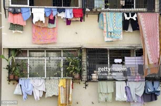clothes drying in balcony at mumbai, maharashtra, india - drying stock pictures, royalty-free photos & images