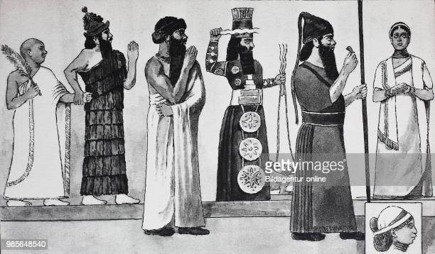 Clothes fashion in Babylon and Assyria from left Old Babylonian priest king Gudea around 2250 BC in the woven white coat is led by a god this in the...