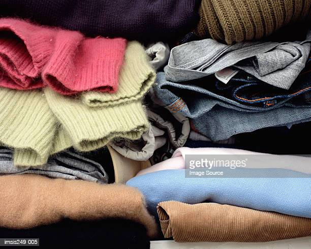 Clothes folded in cupboard