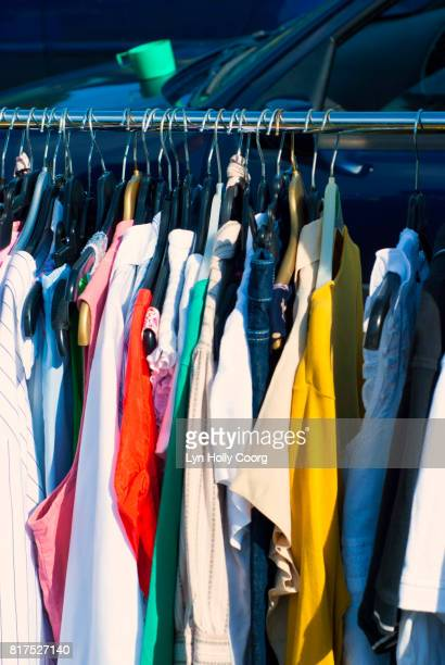 clothes for sale at car boot sale - lyn holly coorg stock pictures, royalty-free photos & images