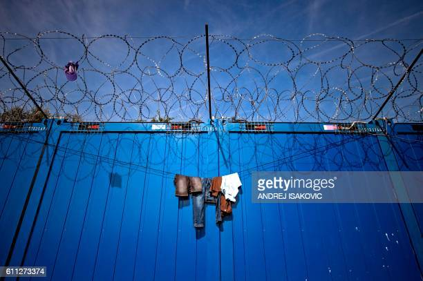 TOPSHOT Clothes hang on the barbed wires at a makeshift refugee and migrants camp close the border between Serbia and Hungary near the Serbian town...