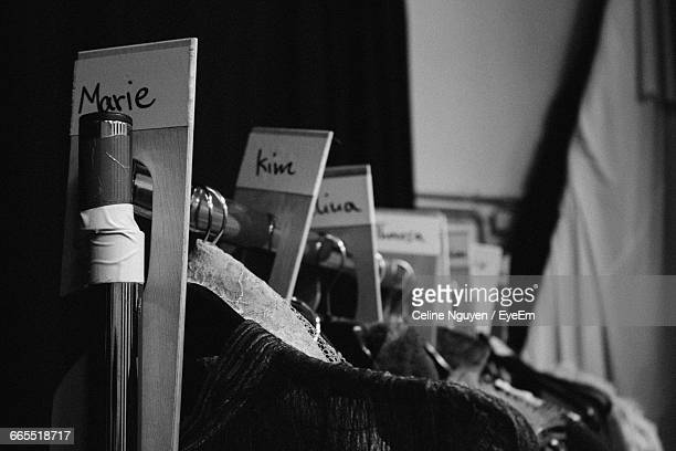 clothes hanging in dressing room - köpenick stock pictures, royalty-free photos & images
