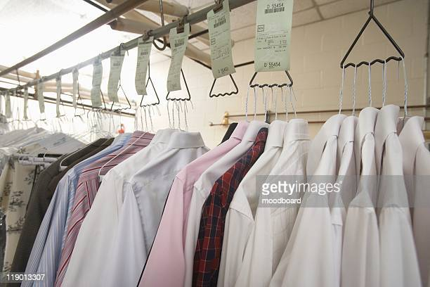 Clothes hanging in the laundrette