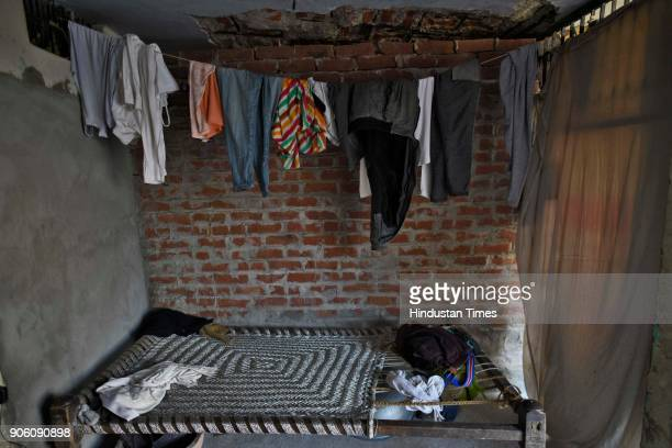 Clothes hanging inside the house of a 12th class student who was found dead on late Tuesday night at Jhansa Village on January 17 2018 in Jind India...