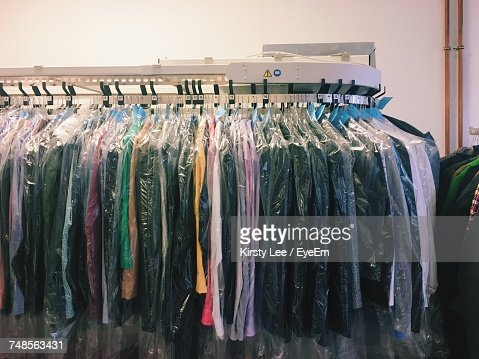 Clothes Hanging On Rack At Store